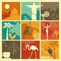 Brazilian symbols. Vector illustration