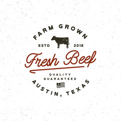 premium fresh beef label. retro styled meat shop emblem. vector illustration