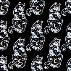 Japanese Cat with moon oriental seamless pattern.