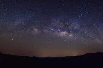 Starry night sky, Milky way galaxy with stars and space dust in the universe, Long exposure photograph, with grain.