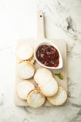Homemade sandwich cookies with jam