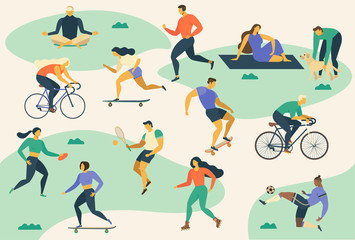 Active young people Healthy lifestyle. Roller skates, running, bicycle, run, walk, yoga. Design element colorful. Vector illustrations.