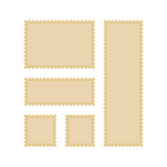 A set of postage stamps vintage, vector flat. Vector templates isolated
