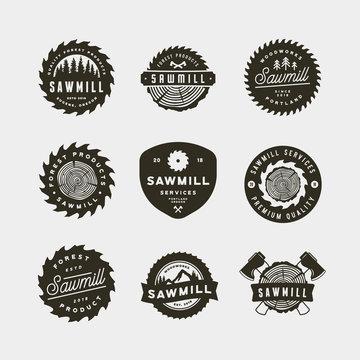 set of sawmill logos. retro styled woodwork emblems. vector illustration