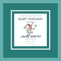 Vector baby shower greeting card.  Little cute fairy. Stickers.