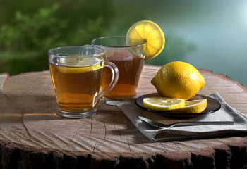 Hot tea in the open air with cookies and a lemon.