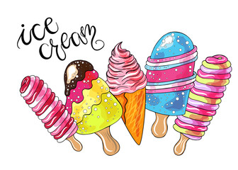 Cartoon ice cream collection with hand lettering. Isolated objects. Hand drawn vector illustration.