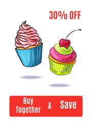 Cartoon cup cake. Hand drawn vector illustration. Template for advertising poster, menu, banner, discount coupon.
