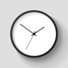 Simple wall Clock in realistic style, minimalistic timer on light background. Business watch. Vector design element for you project
