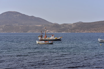 Small fishing boats at Milos Island, Greece