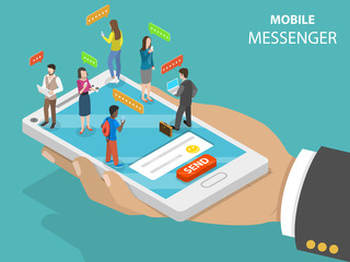 Mobile messenger flat isometric vector concept. Smartphone in the hand with chatting people on it.
