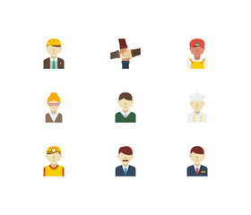 Professional icons set. Teamwork and professional icons with male worker, indian worker and safety worker. Set of elements including corporate for web app logo UI design.