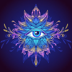 Abstract symbol of All-seeing Eye in Boho Indian Asian Ethnic  style in blue lilac pink for decoration T shirt. Concept magic occultism esoterics. Computer games element