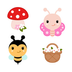 Collection of spring design elements - butterfly, bee, basket with flowers and mushroom. Vector.