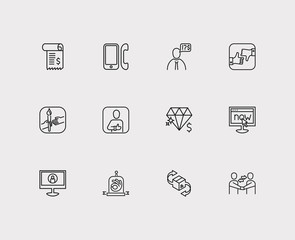 Client and customer service icon line set with invoice, teamwork and review. Set of customer service icons including businessman for web app logo UI design.