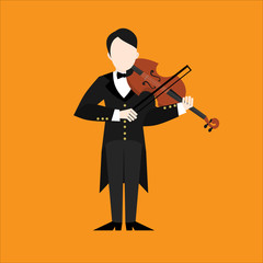 Flat Violinist man character playing music. Musican playing on musical instruments. Violin player