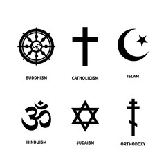 Set of main symbols of most common religions on white