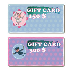 Set of gift voucher template to kids. Vector illustration  with cartoon character.