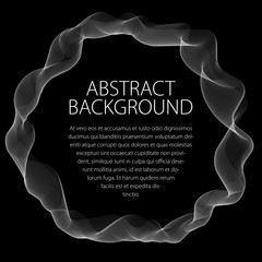 Round smooth linear frame of wavy lines. Vector abstract artistic beautiful background with copy space for text.  Isolated over black background.