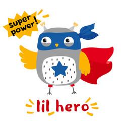 little cartoon owl superhero card