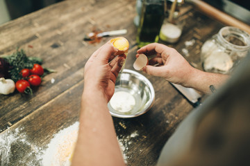 Homemade pasta cooking process, dough preparation