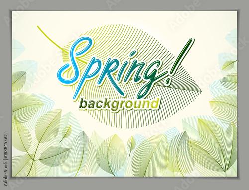 Spring Leaves Horizontal Background Nature Seasonal Template For Design Banner Ticket Leaflet