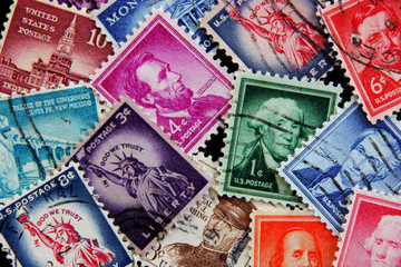 Old post stamps  of USA. Postage stamps  Liberty collection