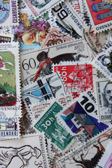 Old post stamps from Czech Republic. Postage stamps mix collection as background