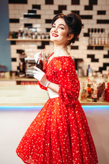 Pin up girl drinking popular carbonated drink