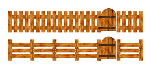 Wooden fence with a gate. Elements set for rural design. Cartoon vector illustration.