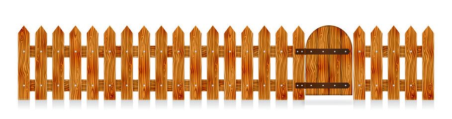 Wooden picket fence with a gate. Elements for rural design. Cartoon vector illustration.