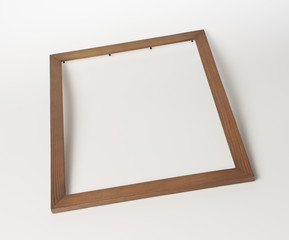 wooden photo frame, on white background