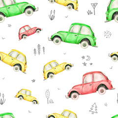 Seamless pattern with colorful cars and road signs on white background