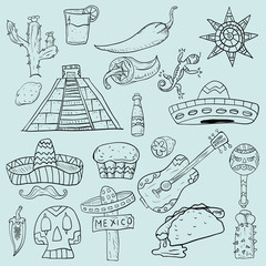 contour illustration on isolated background of Mexican items