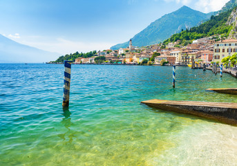landscape of Lake Garda with town Limone sul Garda Wall mural
