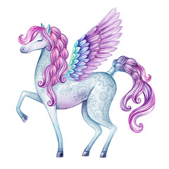 watercolor pegasus illustration, fairy tale creature, flying stallion, magical animal clip art, isolated on white background