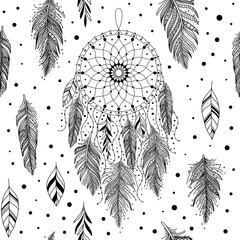 Black and white dreamcatcher pattern