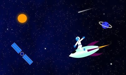 Astronaut in space illustration background