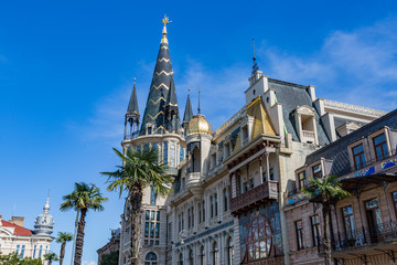 BATUMI, GEORGIA - MARCH 17, 2018: Architecture of the resort city of Batumi on a sunny day