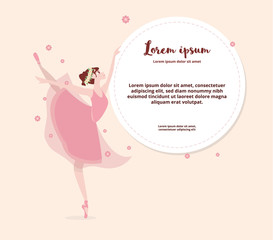 Cute cartoon dancing ballerina. Vector illustration. Ballet shoes