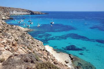 Lampedusa, Italy, summer in the Rabbit Beach, Pelagie islands