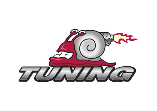 Funny tuning logo turbo snail, symbol, vector, car sport