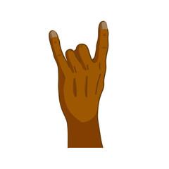 Cartoon black hand in corna gesture on white