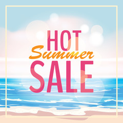 Advertisement about the summer sale on background with beautiful tropical sea beach view. Vector illustration.