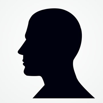 Silhouette of a man s head.