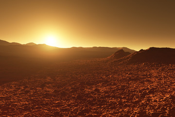 Mars - red planet - landscape with mountains during sunrise or sunset
