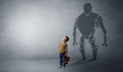 Little boy self image appear as a big robotman shadow on his background