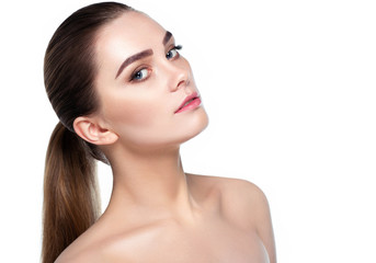 Wall Mural - woman with fresh clean face skin and natural make-up woman. Beautiful woman with fresh daily make-up