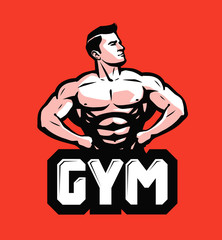 Gym, bodybuilding logo or label. Strong man with big muscles. Vector illustration