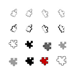 Set of vector Collection modern vector. Jigsaw icon multi type of 3d isometric, solid, line, scribble hatch, doodle, shadow isometric and a little colour on white background eps10